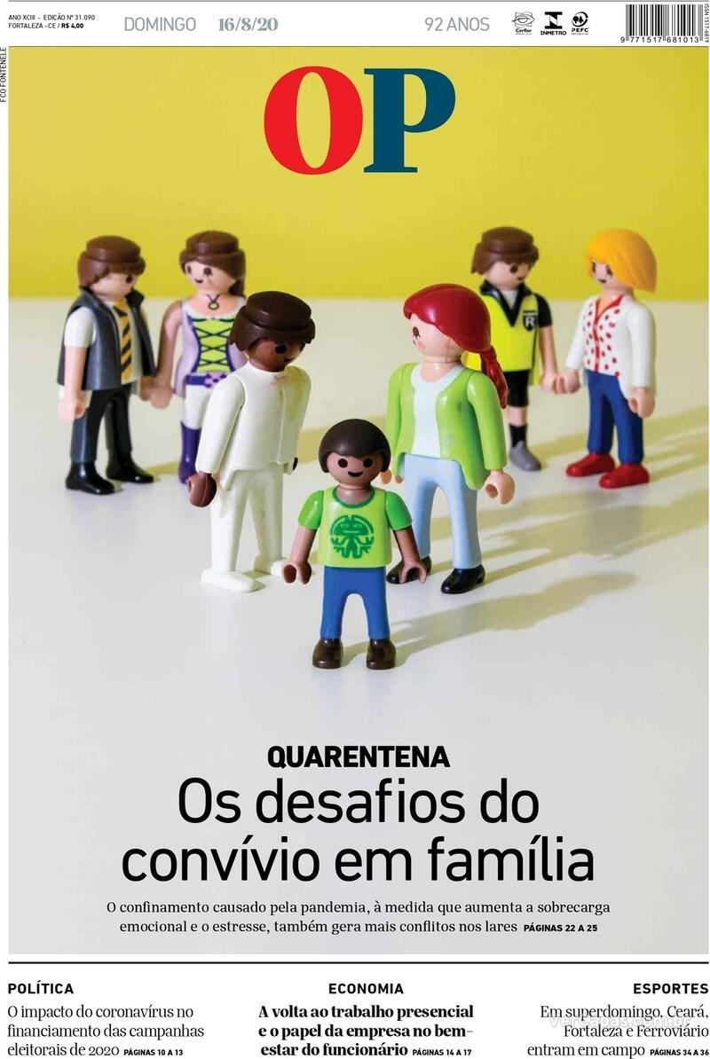 Capa do jornal O Povo 16/08/2020