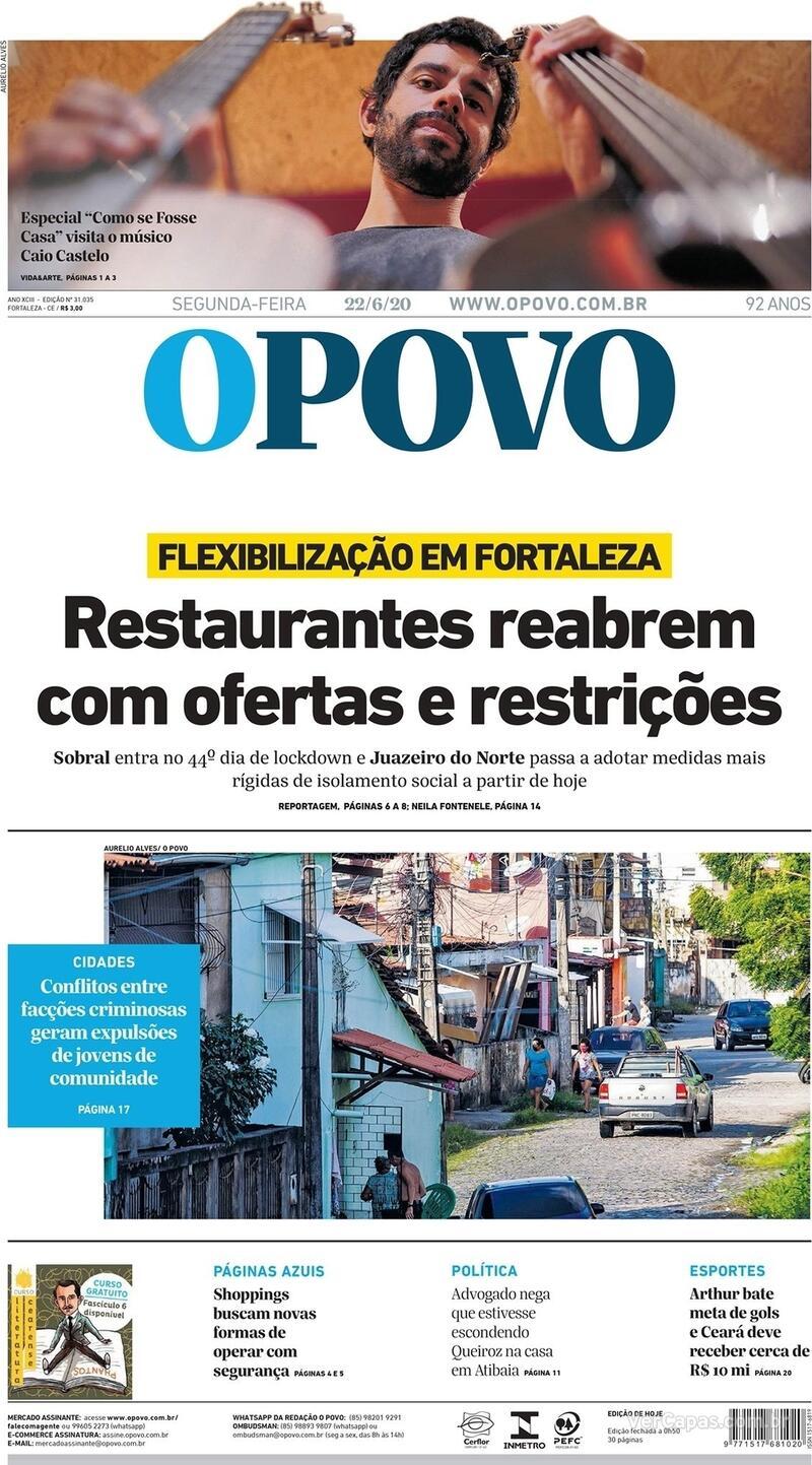Capa do jornal O Povo 22/06/2020