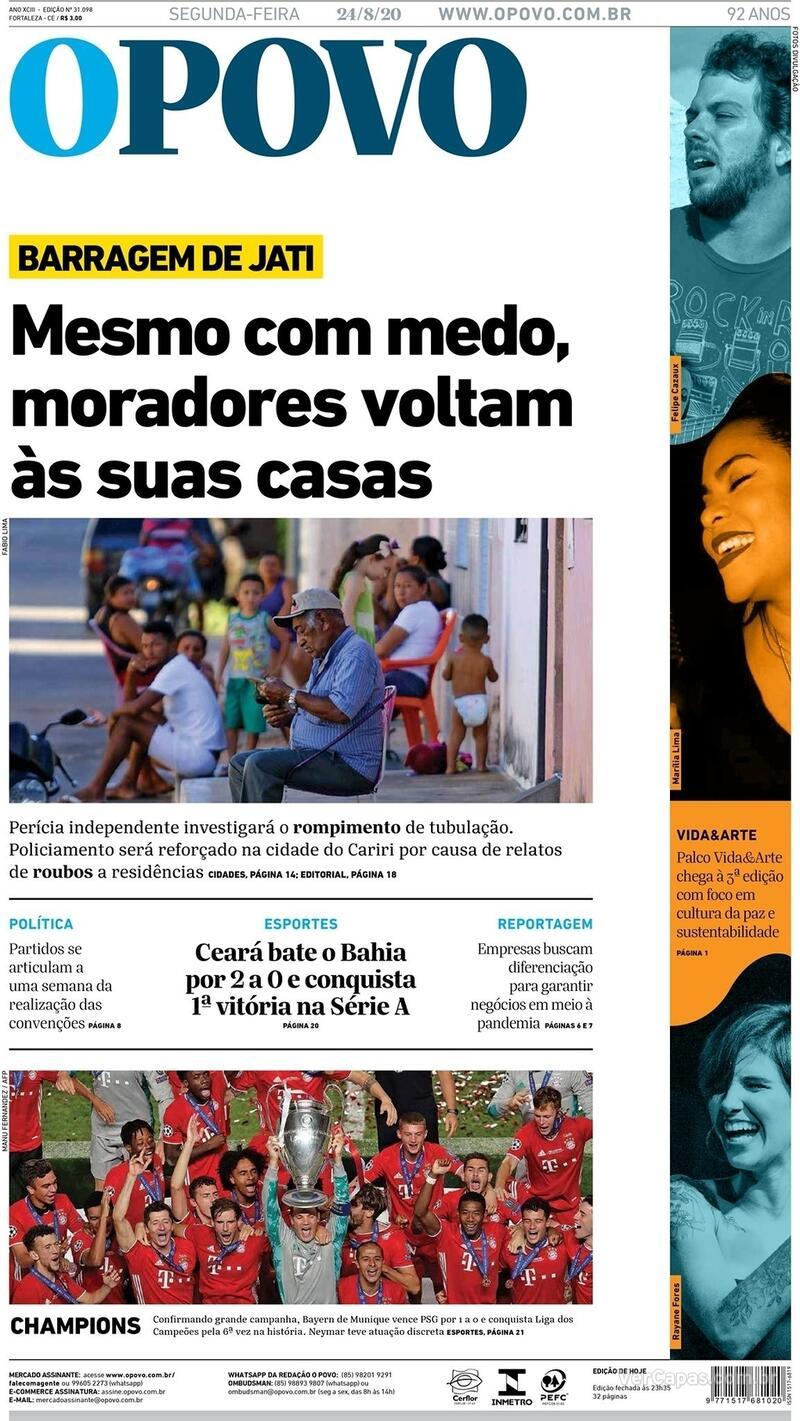 Capa do jornal O Povo 24/08/2020