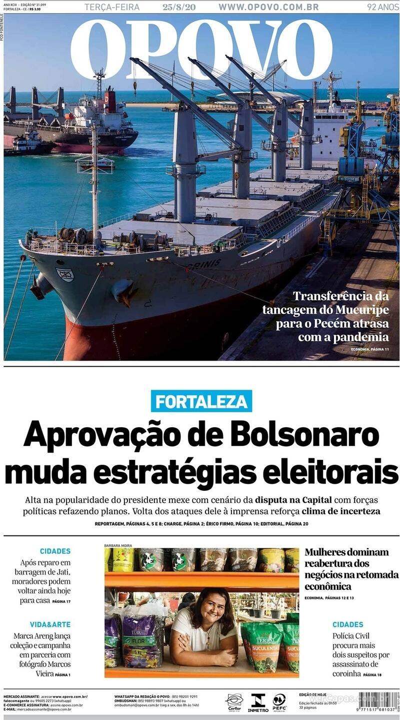 Capa do jornal O Povo 25/08/2020