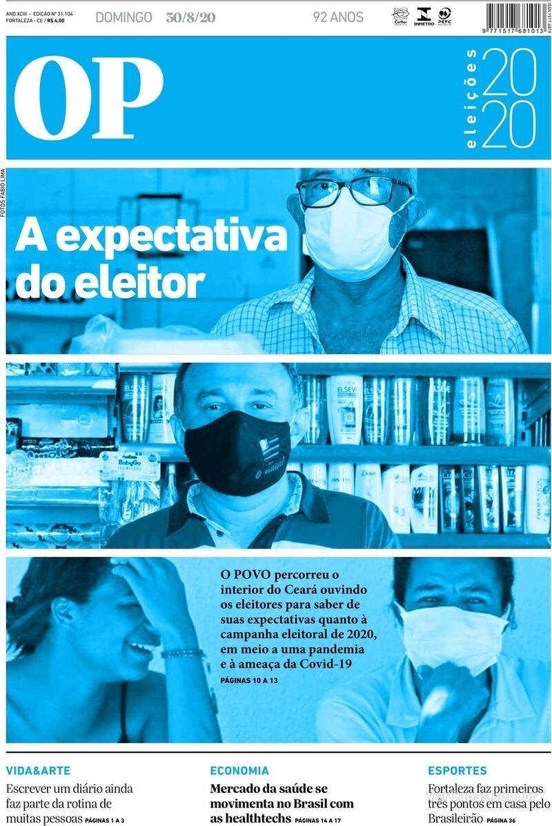 Capa do jornal O Povo 30/08/2020