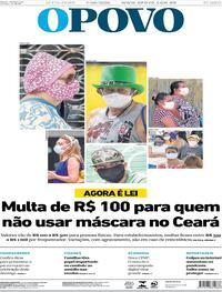 Capa do jornal O Povo 07/08/2020