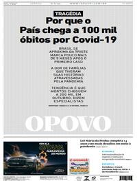 Capa do jornal O Povo 08/08/2020
