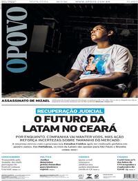 Capa do jornal O Povo 10/07/2020