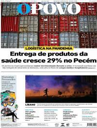 Capa do jornal O Povo 10/08/2020