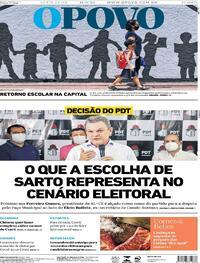 Capa do jornal O Povo 11/09/2020