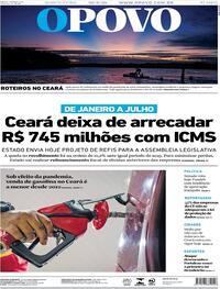 Capa do jornal O Povo 20/08/2020