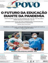 Capa do jornal O Povo 21/07/2020