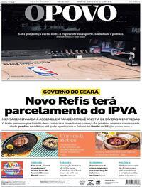 Capa do jornal O Povo 28/08/2020