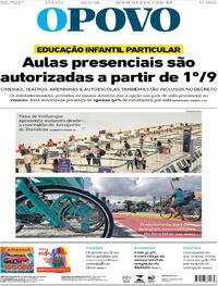 Capa do jornal O Povo 29/08/2020