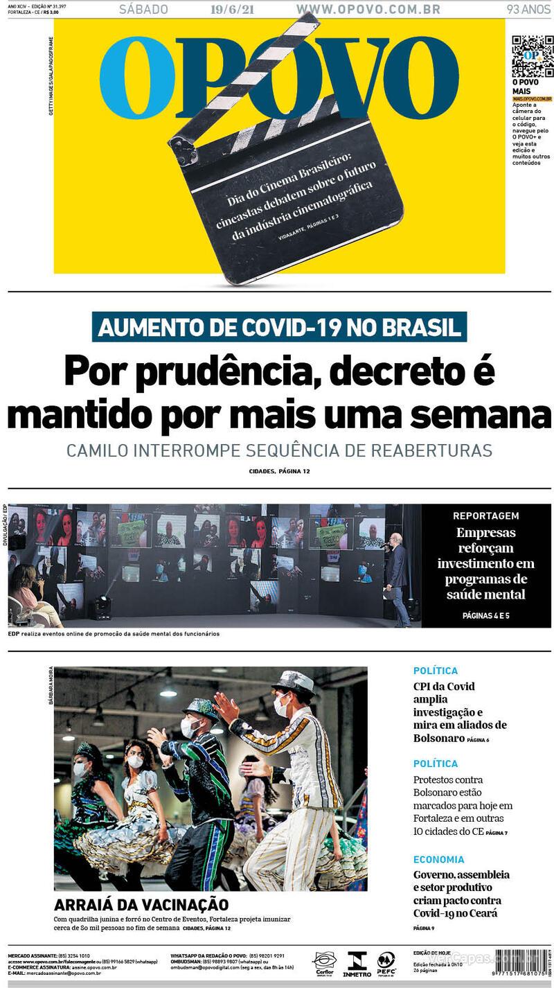 Capa do jornal O Povo 19/06/2021