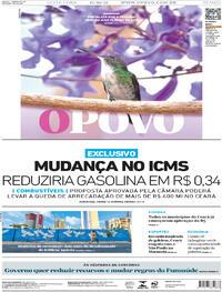Capa do jornal O Povo 15/10/2021