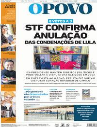 Capa do jornal O Povo 16/04/2021