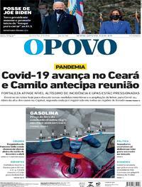 Capa do jornal O Povo 21/01/2021
