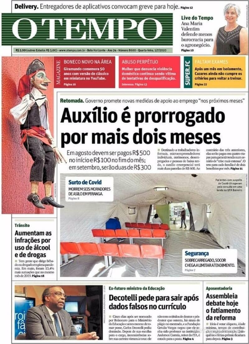 Capa do jornal O Tempo 01/07/2020