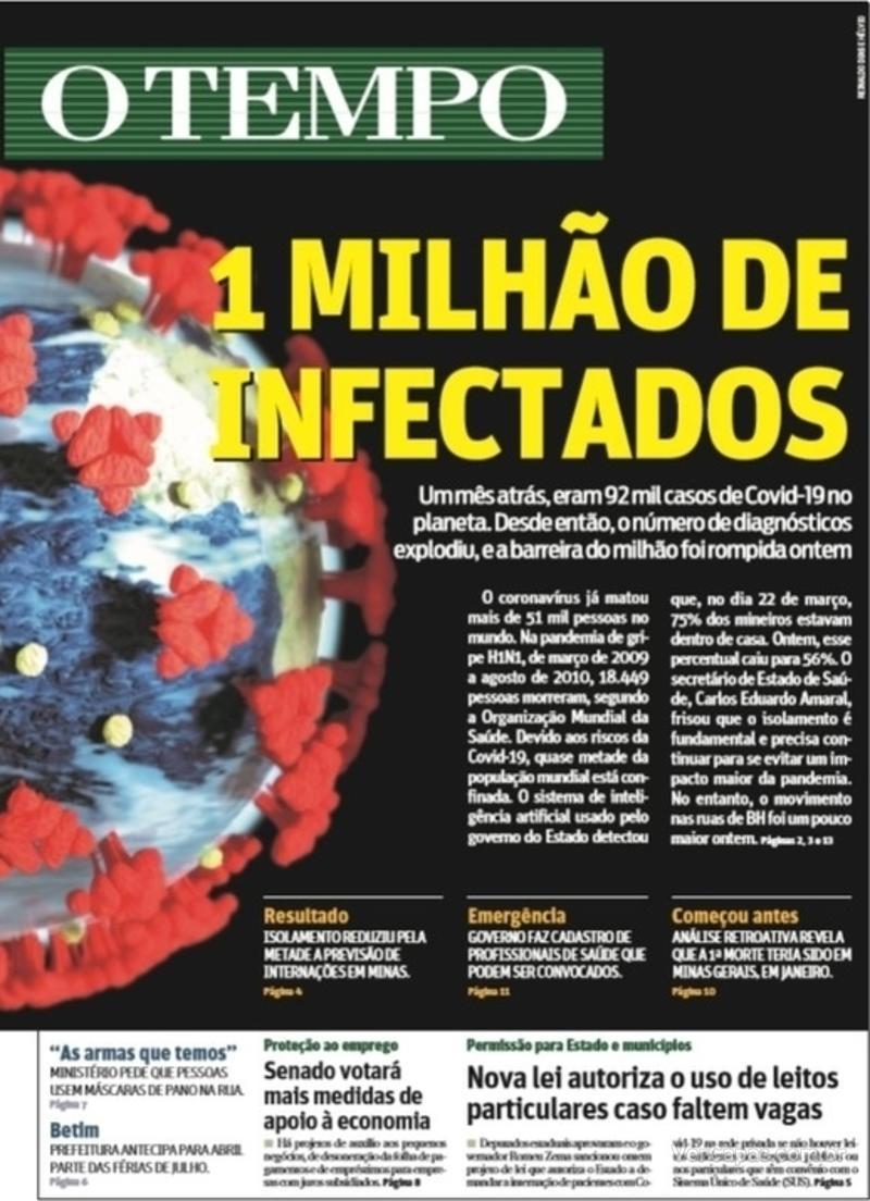 Capa do jornal O Tempo 03/04/2020