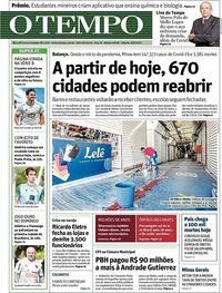 Capa do jornal O Tempo 08/08/2020