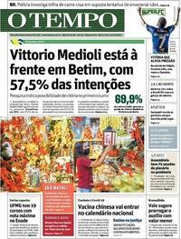 Capa do jornal O Tempo 21/10/2020