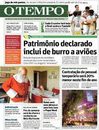 Capa do jornal O Tempo 24/10/2020