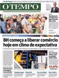 Capa do jornal O Tempo 25/05/2020