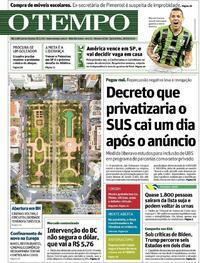 Capa do jornal O Tempo 29/10/2020