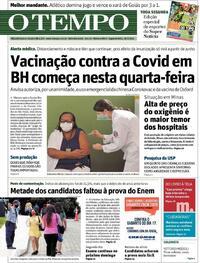 Capa do jornal O Tempo 18/01/2021