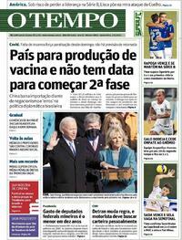 Capa do jornal O Tempo 21/01/2021