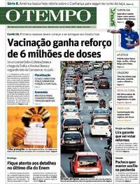 Capa do jornal O Tempo 23/01/2021