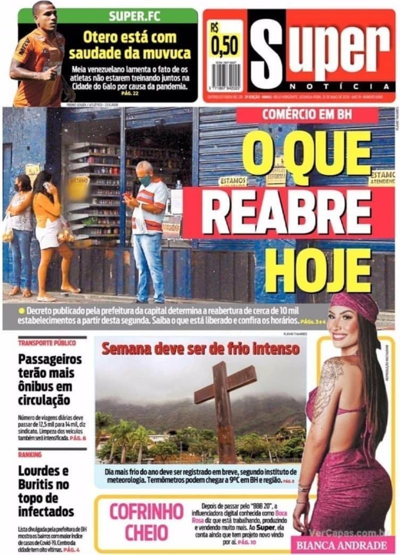 Capa do jornal Super Notícia 25/05/2020