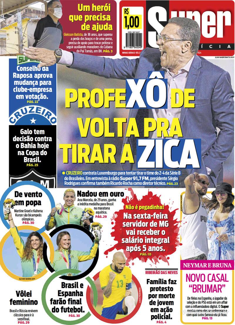 Capa do jornal Super Notícia 04/08/2021