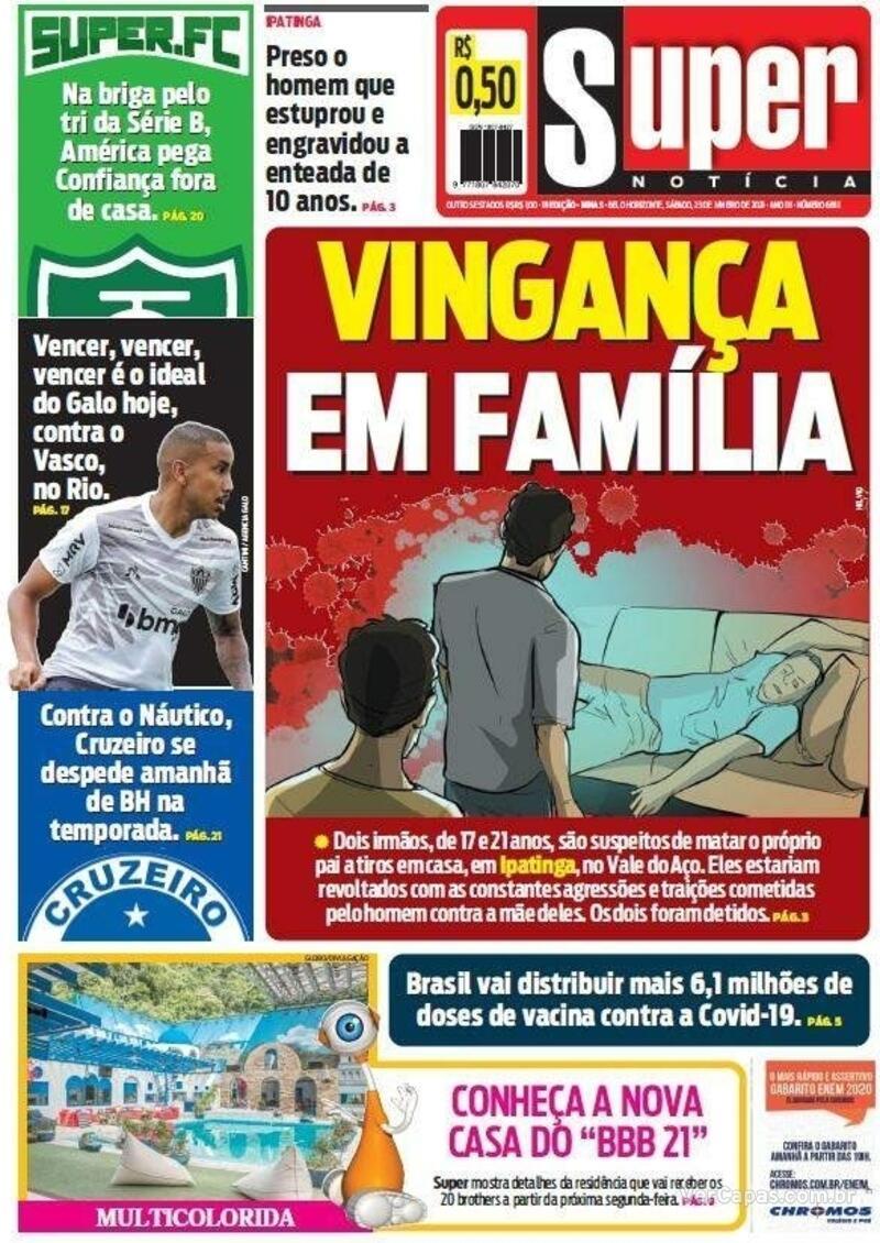 Capa do jornal Super Notícia 23/01/2021
