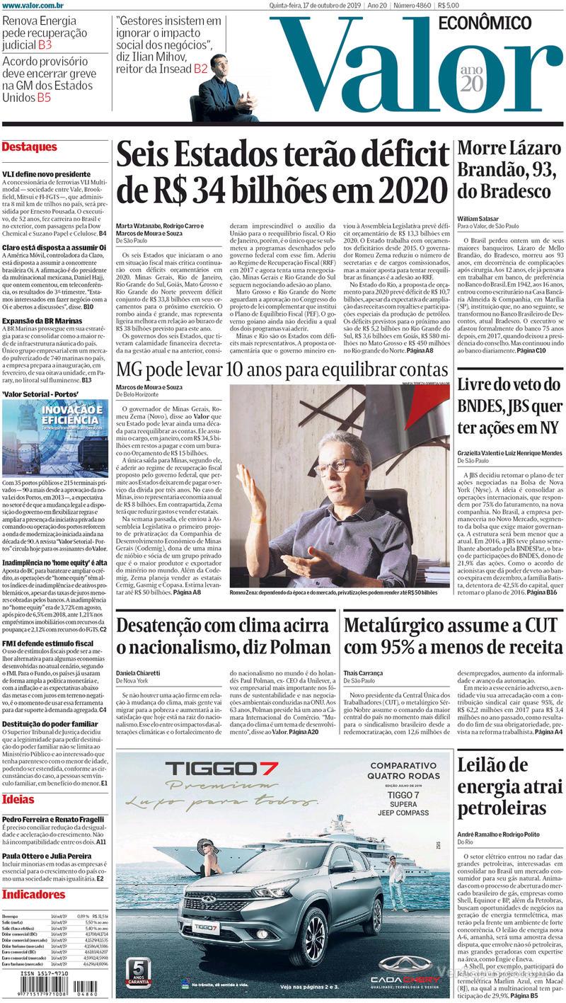 Capa jornal Valor Econômico