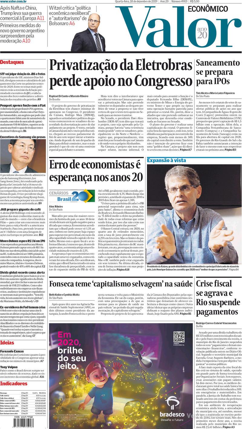 Capa do jornal Valor Econômico 18/12/2019