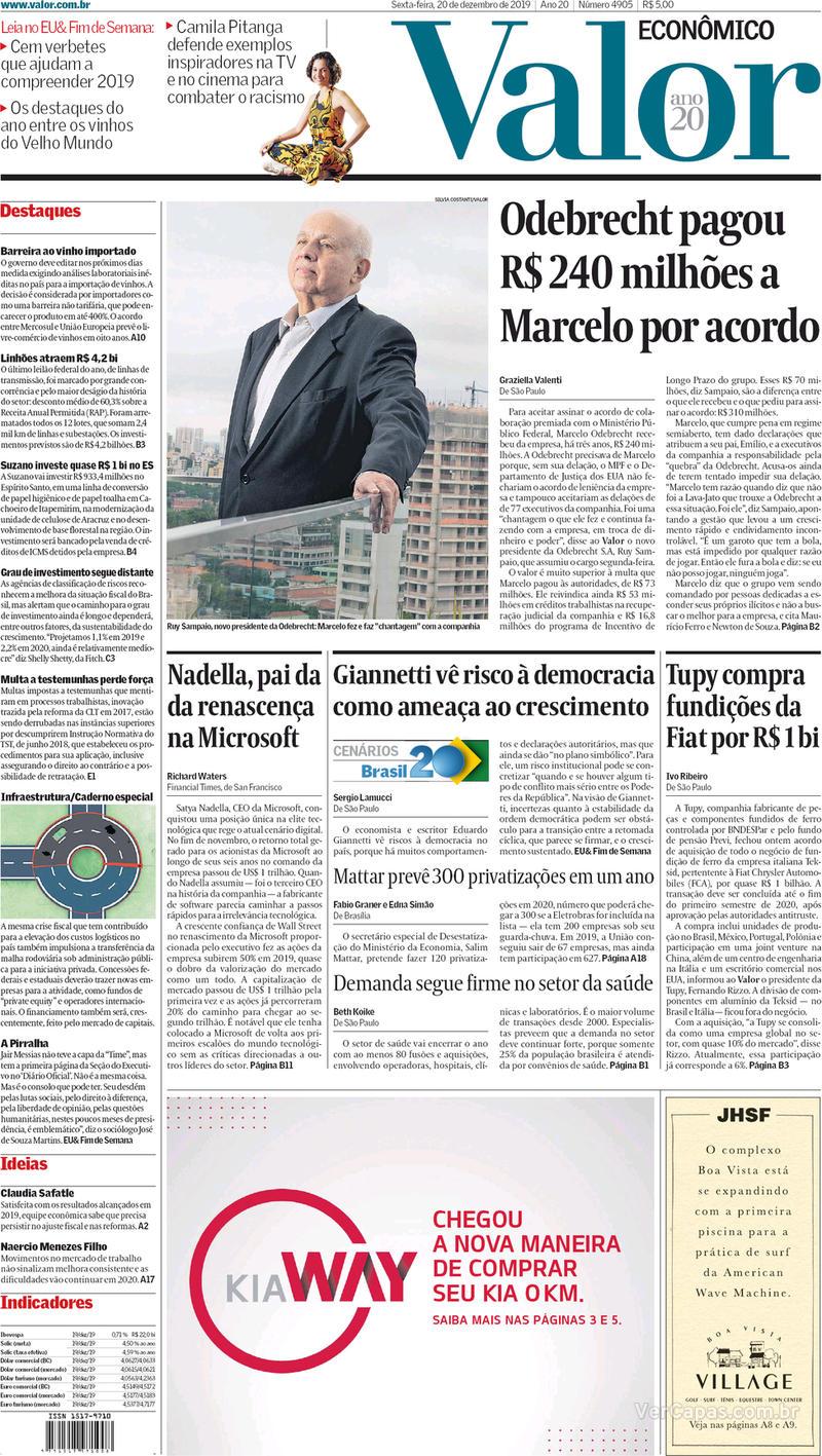 Capa do jornal Valor Econômico 20/12/2019