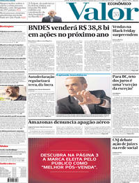 Capa do jornal Valor Econômico 02/12/2019