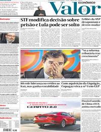 Capa do jornal Valor Econômico 08/11/2019