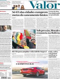 Capa do jornal Valor Econômico 11/11/2019