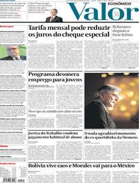 Capa do jornal Valor Econômico 12/11/2019