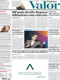 Capa do jornal Valor Econômico 13/11/2019