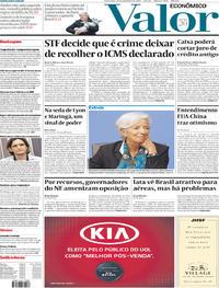 Capa do jornal Valor Econômico 13/12/2019