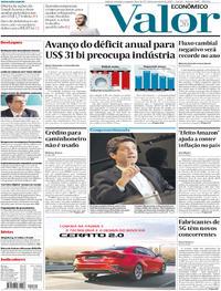 Capa do jornal Valor Econômico 18/11/2019