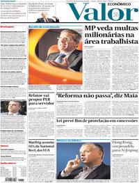 Capa do jornal Valor Econômico 19/11/2019
