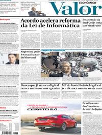 Capa do jornal Valor Econômico 25/11/2019