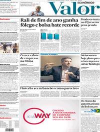 Capa do jornal Valor Econômico 27/12/2019