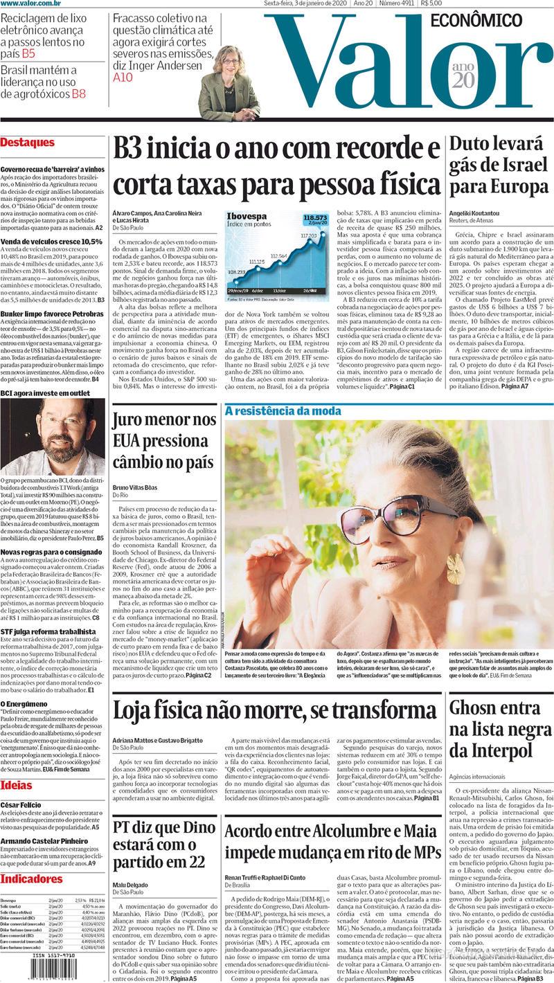 Capa do jornal Valor Econômico 03/01/2020