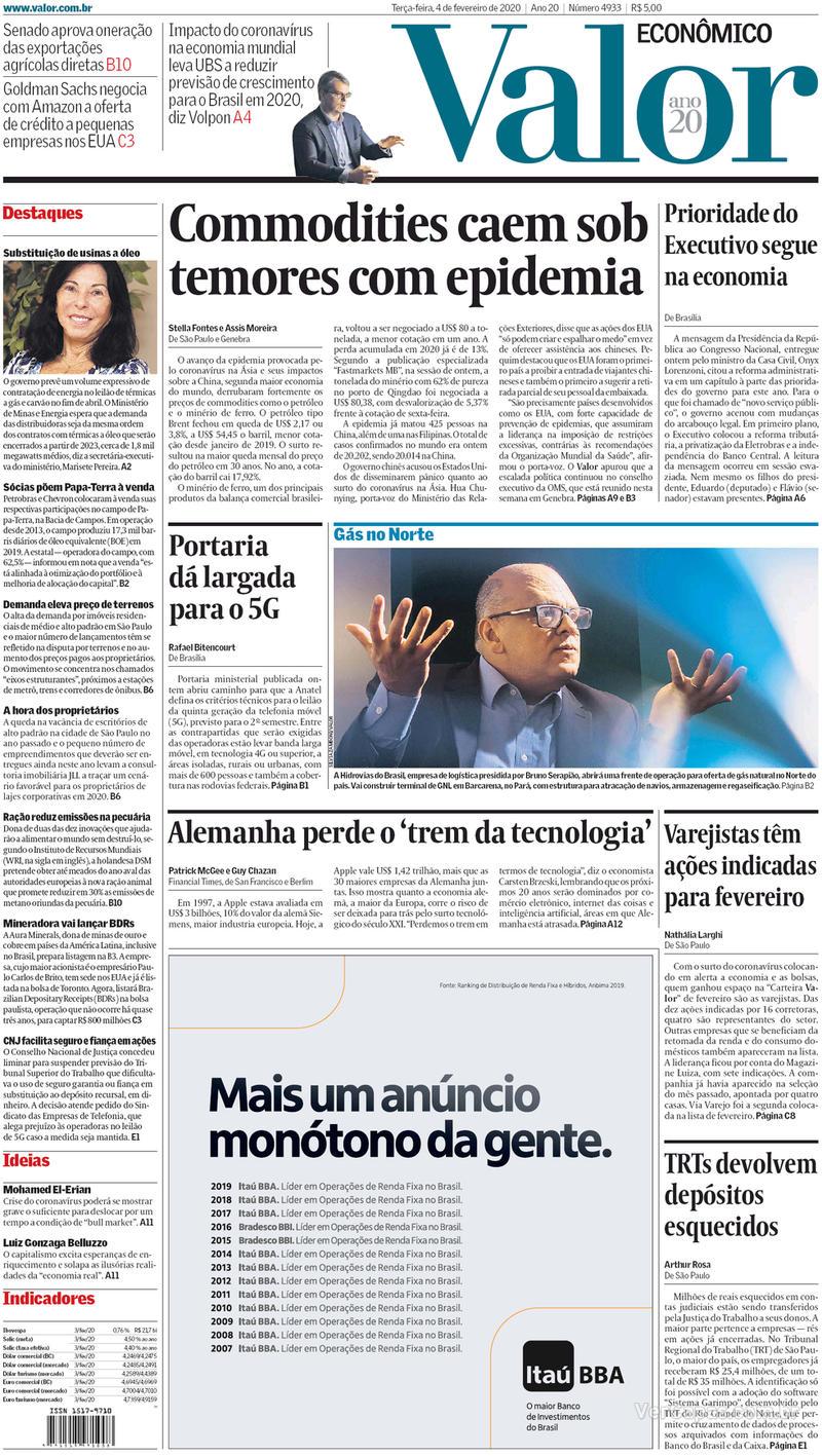 Capa do jornal Valor Econômico 04/02/2020