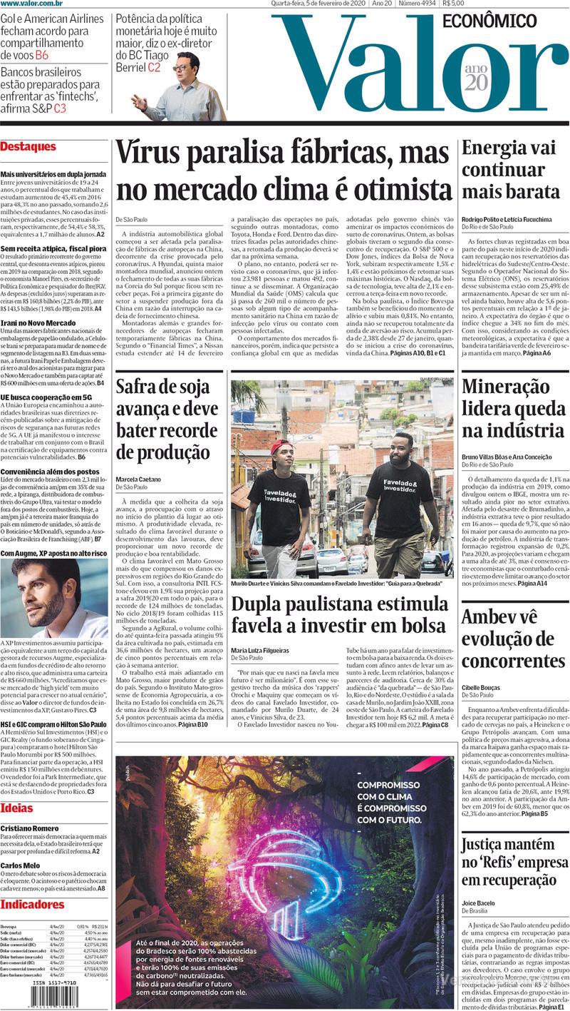 Capa do jornal Valor Econômico 05/02/2020