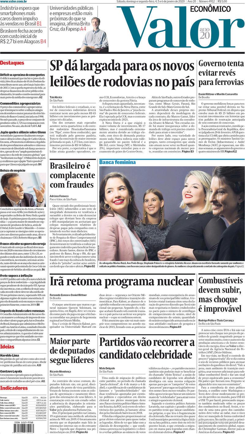 Capa do jornal Valor Econômico 06/01/2020