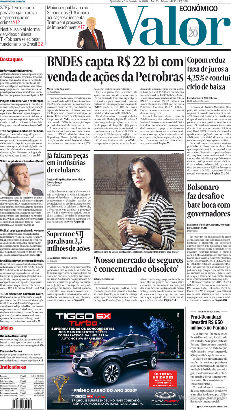 Capa do jornal Valor Econômico 06/02/2020