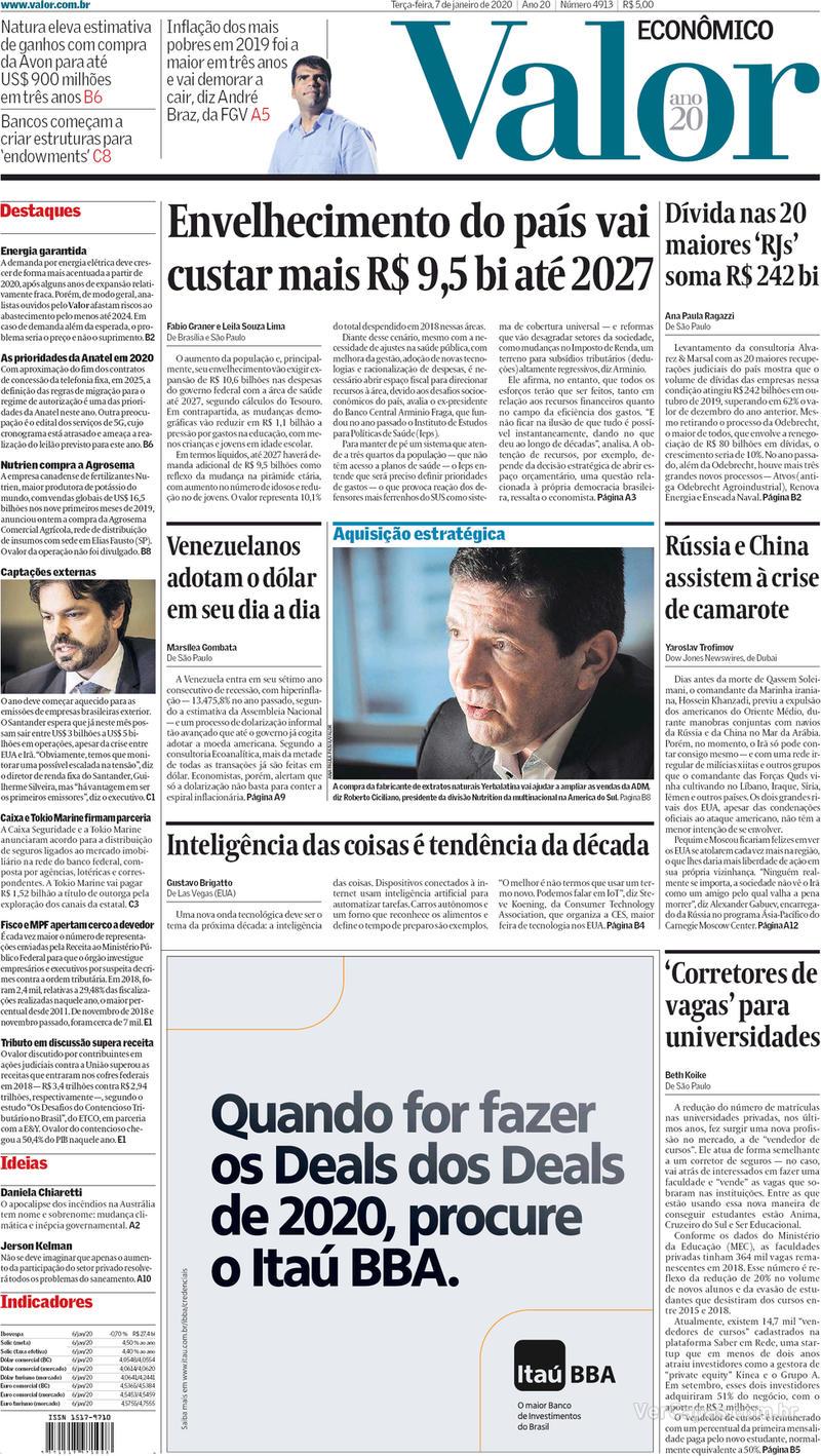 Capa do jornal Valor Econômico 07/01/2020